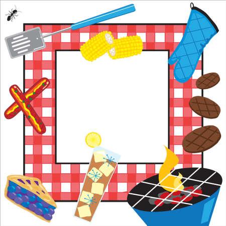 invitaci�n a fiesta: Invitaci�n de parte de picnic de verano Vectores