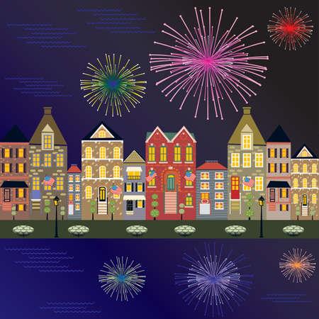 水の反射と花火都市の景観  イラスト・ベクター素材