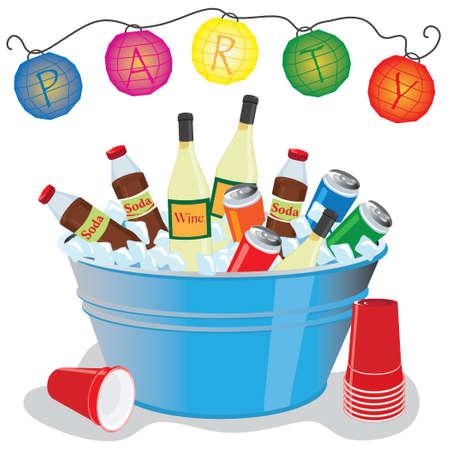 파티 등불과 함께 얼음으로 가득한 욕조에 맥주, 와인, 소다