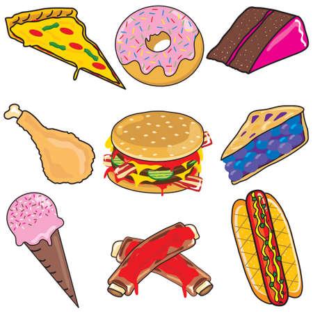 Elementos de imágenes prediseñadas de alimentos sin valor nutritivo e iconos  Ilustración de vector