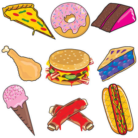 bbq ribs: Junk Food Clipart elements and icons Illustration