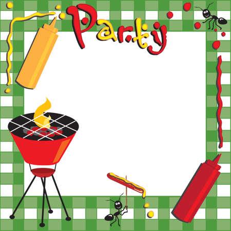 Picknick und GRILL-Einladung Standard-Bild - 6919447
