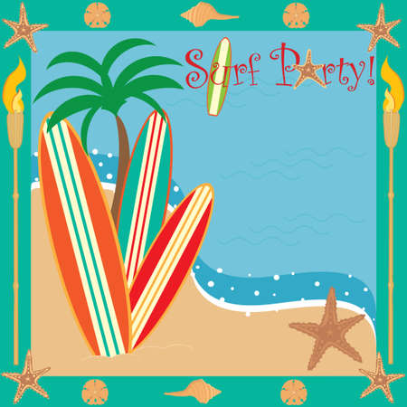 party invitation: Invitaci�n a fiesta de surf