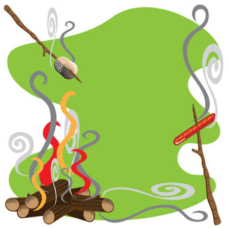 Roasting marshmallows and hotdogs over a campfire Stock Vector - 7175816