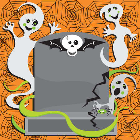 Fun Halloween Ghosts surround a tombstone with room for your type
