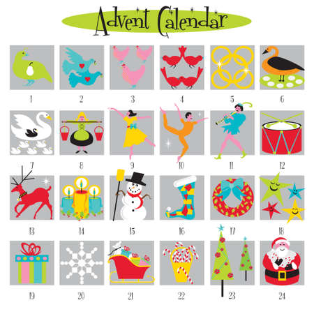 12 days of christmas: Fun Advent Calendar with cute Christmas images Illustration