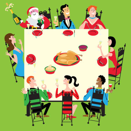 banquet table: Santa joins the party for Thanksgiving, Christmas or New Years