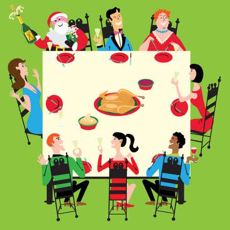 pareja comiendo: Santa se une a la fiesta de acción de gracias, Navidad o año nuevo  Vectores