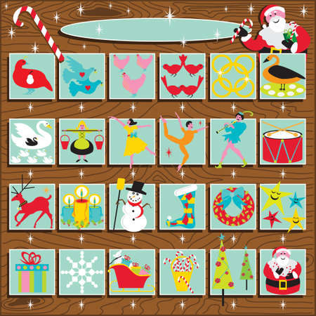 stockings: Santas Retro Advent Calendar on a woodgrain background.  Includes the 12 days of Christmas Illustration
