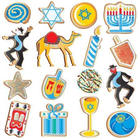 Cute assortment of Jewish Chanukah Cookies, isolated on white Vector