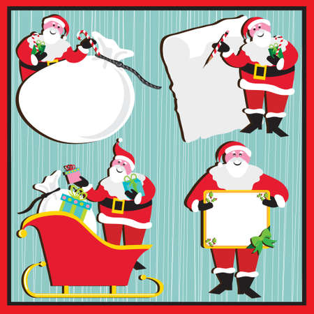 santa sleigh: Santa in 4 poses. Use as a banner, sticker or tag with room for your type Illustration