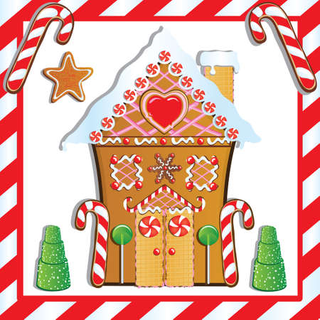 Cute Gingerbread House with gumdrop trees and candy cane frame. Illustration