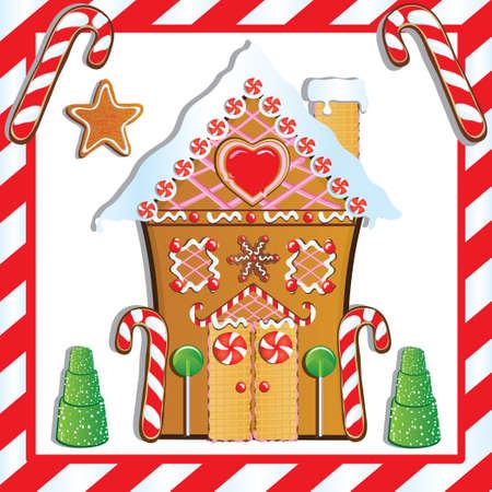 lebkuchen: Cute Lebkuchenhaus mit Gumdrop B�umen und Candy Cane Frame.