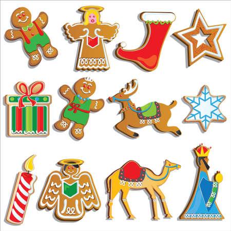 Cookies de Navidad aislados en blanco  Vectores