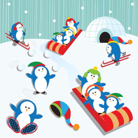 Cute Playful Penguin Village Snow Scene Çizim