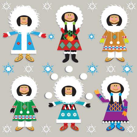 Leuke Eskimo's in hun buitensporige parka's Stock Illustratie