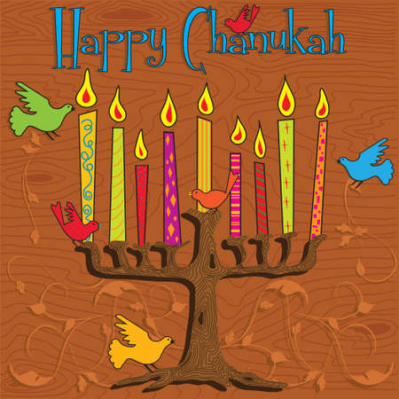 woodgrain: Tree inspired Menorah with bright candles and colorful birds