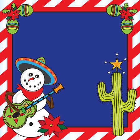 mariachi: Snowman mariachi met candy cane frame Stock Illustratie