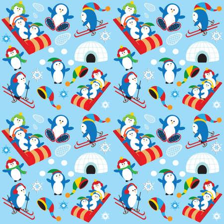 Cute Playful Penguin Village Snow Scene Vector