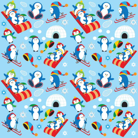 Cute Playful Penguin Village Snow Scene Ilustração