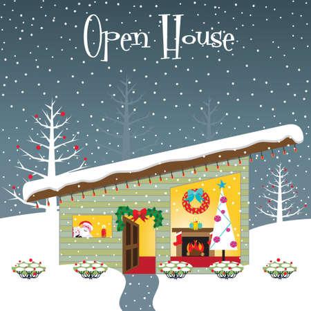 Weihnachten Open-House Partyeinladung mit Raum für Ihre Kopie Standard-Bild - 8245787