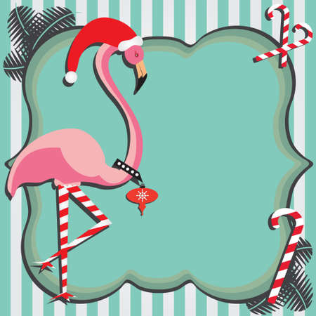 Carte de Noël Flamingo