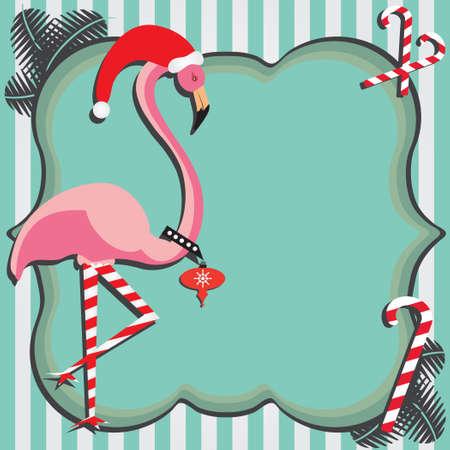 Flamingo Weihnachtskarte Standard-Bild - 8317924