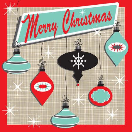 Retro inspirado tarjeta de Navidad con lindos adornos