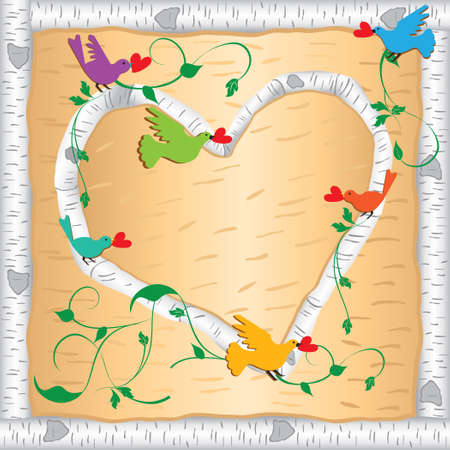 Primitive birch wood heart and frame with brightly colored bird holding hearts Vector