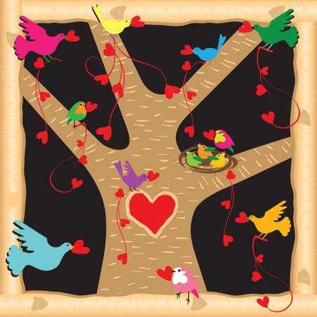 Colorful birds decorate the tree with hearts Vector