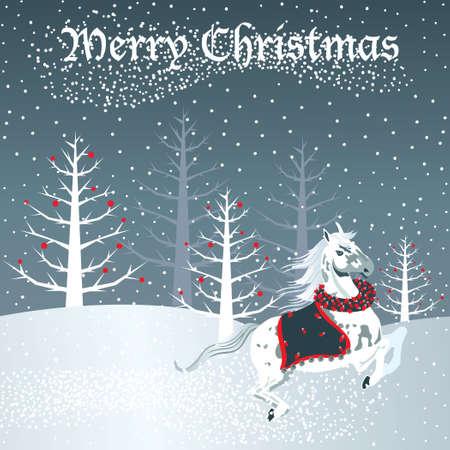 Kerst mis paard met sneeuwtafereel
