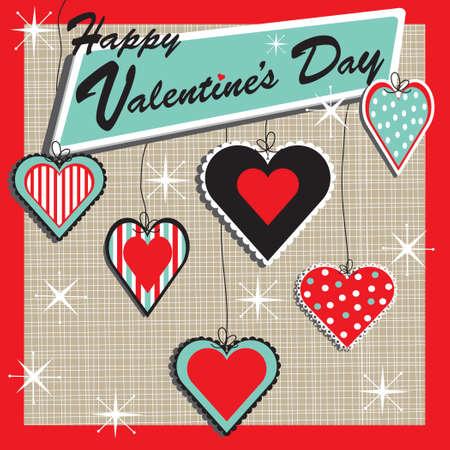 Retro Valentine Heart Ornaments