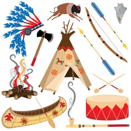 American Indian Clipart pictogrammen en elementen, geïsoleerd op wit Stock Illustratie