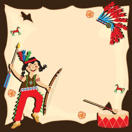 Feliz indio americano con arco y flecha, con espacio para copia Ilustración de vector
