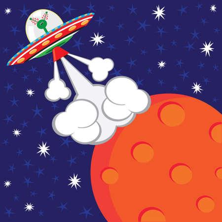 Alien Spaceship Blast-off Birthday Party Illustration