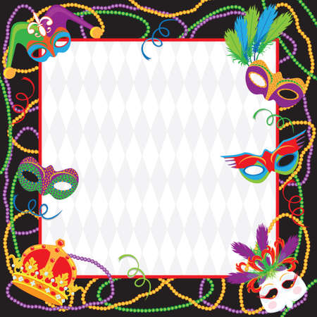 colorful beads: Mardi Gras Party Invitation Illustration