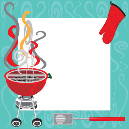 grill: BBQ Party Invitation with copy space
