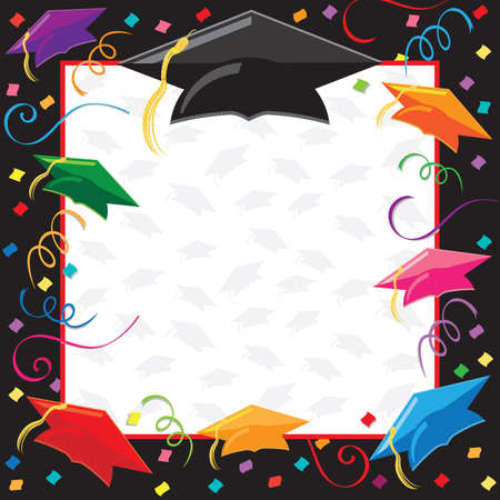 party streamers: Colorful Graduation Invitation with copy space