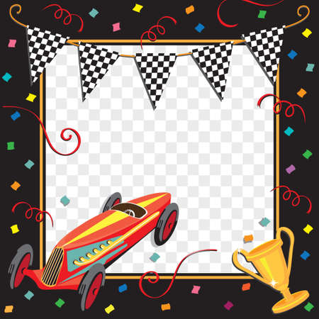 childrens birthday party: Race car or soap box derby celebration invitation