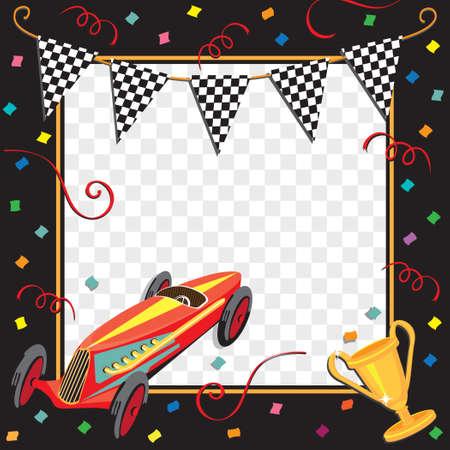 Rennen Auto oder Soap Box Derby Celebration Einladung Standard-Bild - 9088920