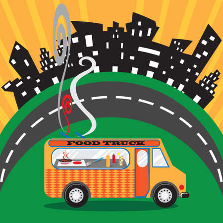food: Food Truck in an Urban Setting Illustration