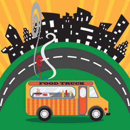Food Truck in an Urban Setting Stock Illustratie
