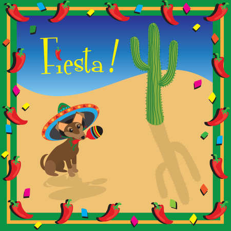 치와와의 멕시칸 피에스타 파티 일러스트