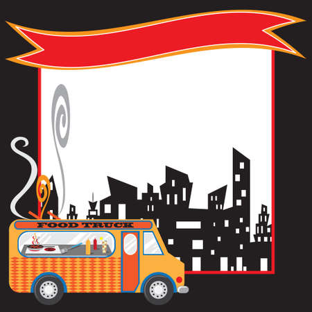 Colorful food truck in an urban setting with copy space