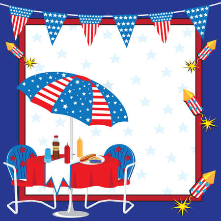 Invitation to a 4th of July or any patriotic Party Illustration
