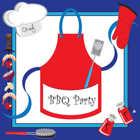 Barbecue party invitation with large apron Çizim