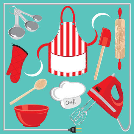 aprons: Baking icons and elements