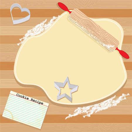 bizcochos: Masa de cookie sali� con rodillo, tarjeta de receta y cortadores de cookie Vectores