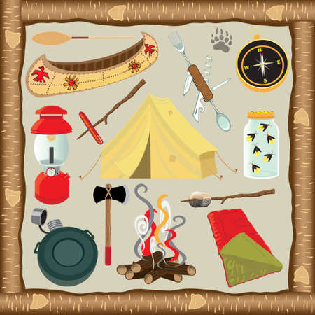 Cute selection of camping icons with rustic bark wood frame