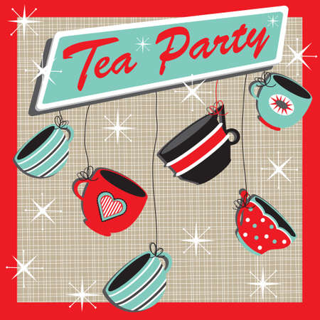 Retro Tea Party Invitation Vector